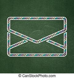電子メール, concept:, 金融, 背景, 黒板