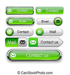 電子メール, high-detailed, 網, ボタン, collection.