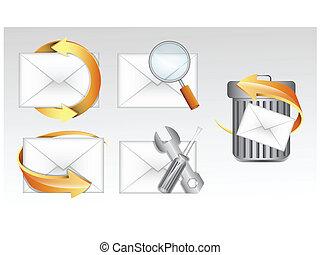 電子メール, vectors, アイコン