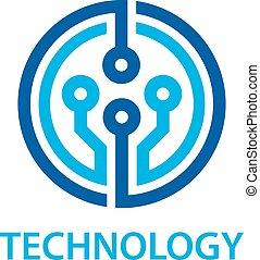 電子, シンボル, 技術, 板, 回路