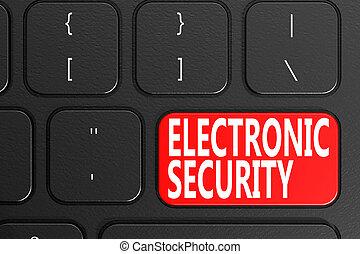 電子, セキュリティー, 上に, 黒, キーボード