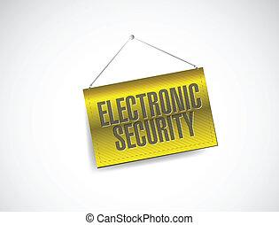 電子, セキュリティー, 掛かること, 旗, イラスト