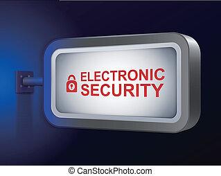 電子, セキュリティー, 言葉, 上に, 広告板