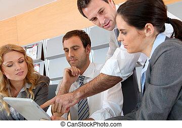 電子, タブレット, ミーティング, オフィス, ビジネス