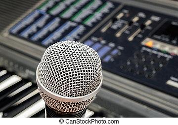 電子, マイクロフォン, 黒いピアノ, 背景