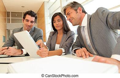 電子, ミーティング, ビジネス, タブレット
