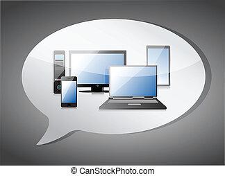 電子, メッセージ, デザイン, イラスト