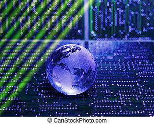 電子, 印製電路 板, 由于, 技術, 風格, 針對, 光纖, 背景