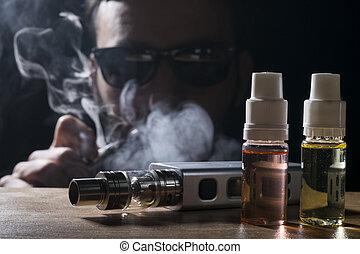 電子, 香煙, vaping, 設備, 由于, e, 液体, 背景。