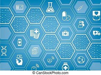電子, e-healthcare, 藍色, 矢量, 背景, 由于, 六角形, 形狀