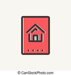 電子, keycard, 薄いライン, アイコン
