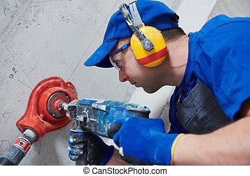 電工, work., 力量, 鑽孔, 工具, drill., 出口, 洞, 電