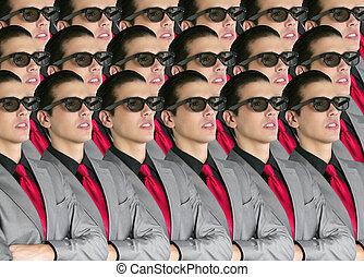 電影院, 在, 新, 3d 眼鏡, 由于, 男孩, 觀眾