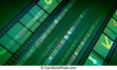 電影, 綠色, 條紋, 背景, retro