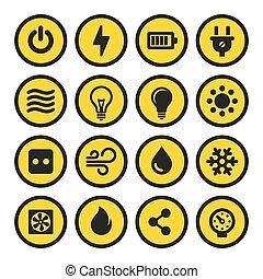 電気である, アイコン, set., 黄色, ベクトル, signs.