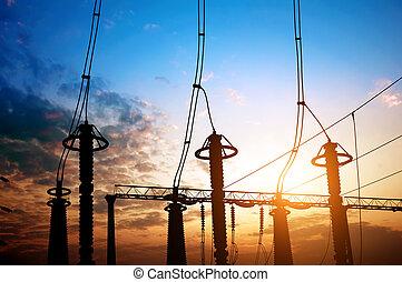 電気である, サブステーション, 装置, シルエット