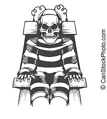 電気である, 人間, ウエア, 刑務所, スーツ, 椅子, スケルトン