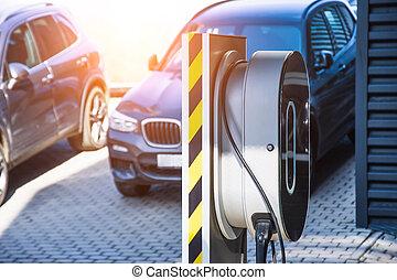 電気である, 充満, 自動車, 自動車, 修理, e-mobility., 燃料を補給すること, サービス, 店, garage.