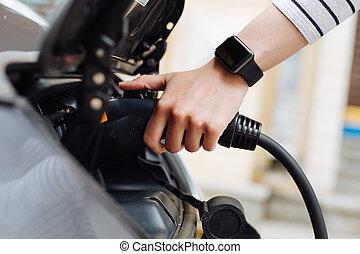 電気である, 充電器, 手, 女性, 自動車, 保有物