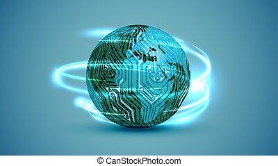 電気である, 地球, イラスト, ベクトル, 回路, 3d