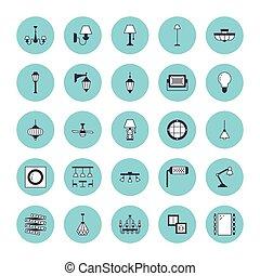 電気である, 屋外, 壁, シャンデリア, サイン, 家, -, 装置, 内部, 店, socket., 平ら, 備品, 力, icons., 照明, 線, イラスト, ライト, sconce, ベクトル, ランプ, 電球