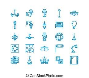 電気である, 屋外, 壁, シャンデリア, ランプ, サイン, 家, 完全, -, 装置, 内部, ピクセル, socket., 平ら, 備品, 力, icons., 照明, store., 線, イラスト, ライト, sconce, ベクトル, 64x64, 電球