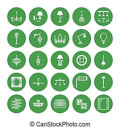 電気である, 屋外, 壁, シャンデリア, ランプ, サイン, 家, glyph, 完全, -, 装置, 内部, ピクセル, socket., 平ら, 備品, 力, icons., 照明, store., イラスト, ライト, sconce, ベクトル, 64x64, 電球