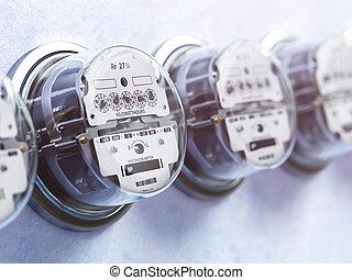 電気である, 消費, 電気, concept., meters., アナログ, 横列