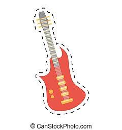 電気である, 点を打たれた, ギター, 道具, 線, アイコン, ベース