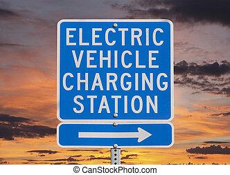 電気である, 空, 印, 駅, 日没, 車, 充満
