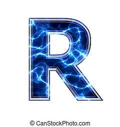 電気である, -, 背景, r, 手紙, 白, 3d