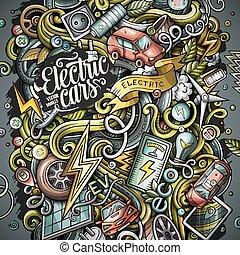 電気である, 自動車, イラスト, ベクトル, doodles, 漫画