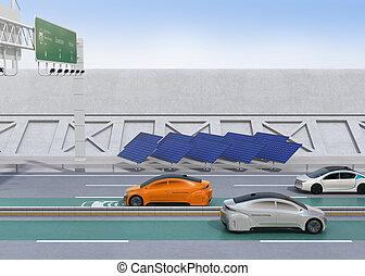 電気である, 自動車, 運転, 上に, ∥, 無線, 充満, 車線, の, ∥, ハイウェー