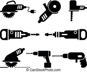 電気である, 道具, ベクトル, アイコン, セット