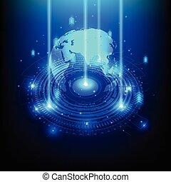 電気である, 遠距離通信, 抽象的, 地図, 工学, ベクトル, イラスト, 世界, 未来, 技術