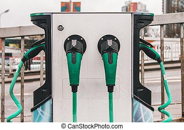 電気のカラー, 充電器, 自動車, 緑, たくさん, 駐車