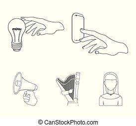 電気のスイッチ, ボタン, 白熱電球, そして, 他, 網, アイコン, 中に, アウトライン, style.,...