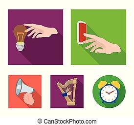 電気のスイッチ, ボタン, 白熱電球, そして, 他, 網, アイコン, 中に, 平ら, style., ハープ,...