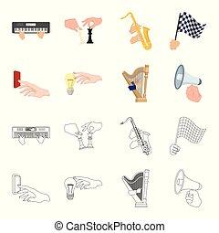 電気のスイッチ, ボタン, 白熱電球, そして, 他, 網, アイコン, 中に, 漫画, style., ハープ,...