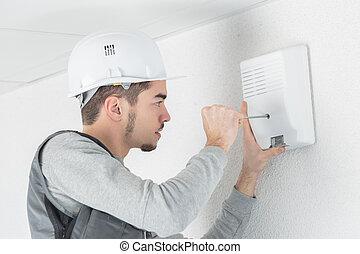 電気技師, 仕事, 若い, サイト, 建設, ハンサム