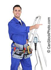 電気技師, 装置, 彼の, 立った, 指すこと