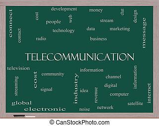 電気通信, 単語, 雲, 概念, 上に, a, 黒板
