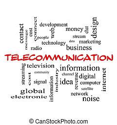電気通信, 単語, 雲, 概念, 中に, 赤, 帽子