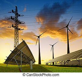 電気, エネルギー, タービン, に対して, フィールド, パイロン, 太陽, 伝達, パネル, 風, sunset.