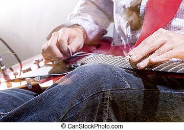 電気 ギター, プレーヤー, environment., スタジオ, 手, 専門家, closeup.