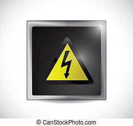 電気, ボタン, 危険の印