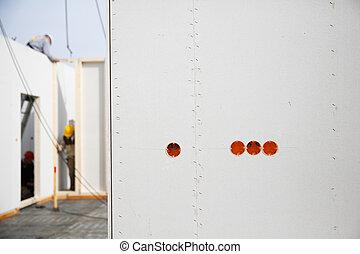 電気, 労働者, drywall, ソケット, 背景