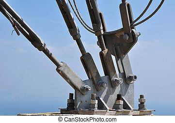 電気, 持たれた, マスト, 金属, 吊包帯
