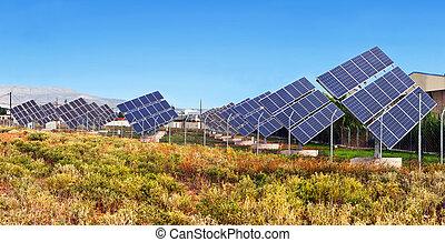 電気, 日光, 転換, 力, 太陽, ユニット, パネル, 光起電, 使うこと