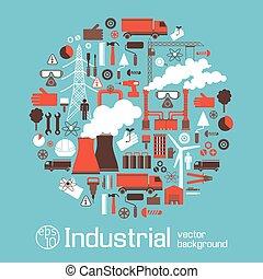 電気, 産業, セット, ラウンド, アイコン